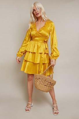 Little Mistress Alfie Mustard Satin Frill Mini Dress