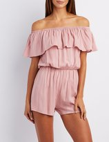 Charlotte Russe Off-The-Shoulder Lace-Up Romper