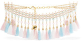 Rosantica Baby Gold-tone, Raffia And Stone Necklace - Pink
