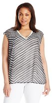 Calvin Klein Women's Plus Size Printed V-Neck Chiffon Layer Top
