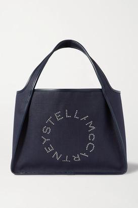 Stella McCartney Eyelet-embellished Vegetarian Leather-trimmed Linen-canvas Tote - Navy