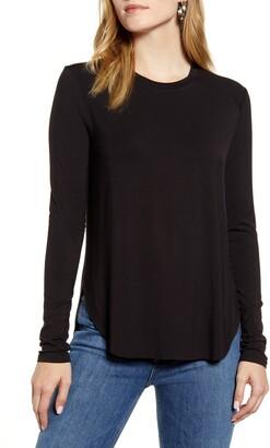 Halogen Long Sleeve Shirttail Hem Shirt