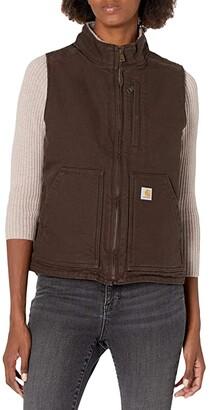 Carhartt OV277 Sherpa Lined Mock Neck Vest (Dark Brown) Women's Clothing