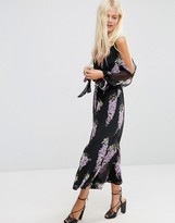 Asos Jumpsuit with Cold Shoulder in Lilac Oversized Floral Print