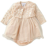 Bonnie Jean Bonnie Baby Baby Girls Newborn-24 Months Sequin-Embellished Cardigan & Foiled Knit Dress Set