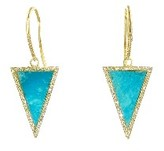 Jennifer Meyer Diamond Turquoise Inlay Triangle Earrings - Yellow Gold