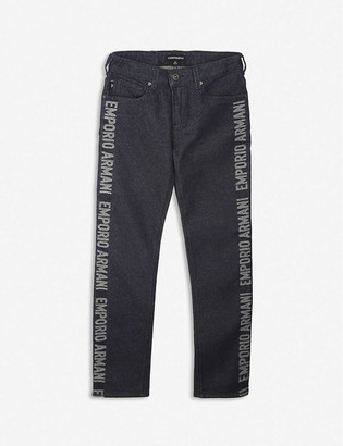 Emporio Armani Logo-print stretch-denim jeans 4-16 years