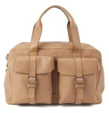HUGO BOSS Calf Leather Holdall With Twin Front Pockets - Light Beige