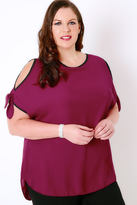 Yours Clothing Fuchsia Cold Shoulder Woven Top