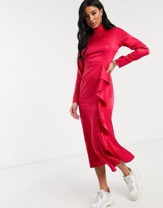 NA-KD high neck ruffle detail midi dress in fuchsia pink