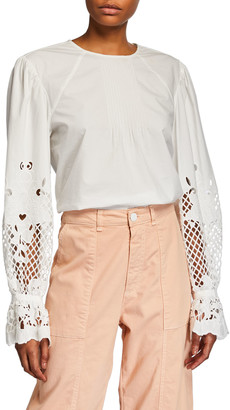 See by Chloe Crewneck Guipure Lace Button-Back Top