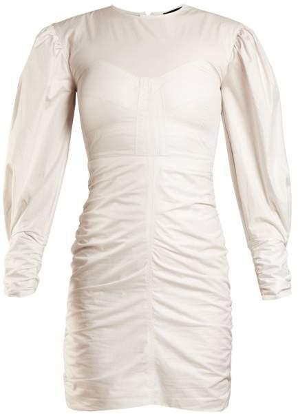 Isabel Marant May Puff Sleeved Gathered Dress - Womens - White