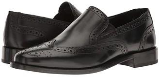Nunn Bush Norris Wing Tip Double Gore Dress Casual Slip-On (Black) Men's Slip-on Dress Shoes