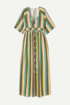 Eywasouls Malibu Liliane Striped Cotton-voile Maxi Dress - Green