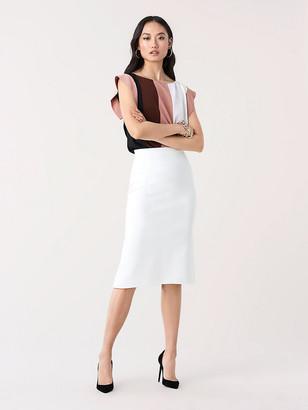 Diane von Furstenberg Ida Silk Crepe de Chine Cap-Sleeve Top