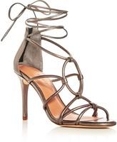 Halston Brielle Caged Ankle Tie Sandals