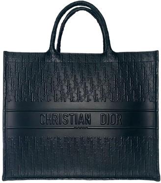 Christian Dior Book Tote Black Leather Handbags