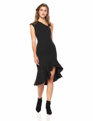 Keepsake Women's Mirrors One Shoulder Ruffle Hem Midi Dress