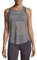 Koral Activewear Aerate Checker-Print Mesh Athletic Tank, White/Black