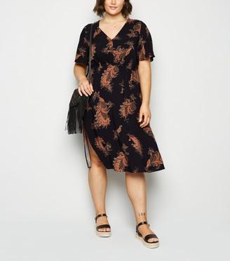 New Look Curves Leaf Print Midi Dress