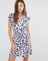 French Connection Tea Dress in Pink Leopard