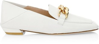 Stuart Weitzman Mickee Chain Square-Toe Leather Loafers