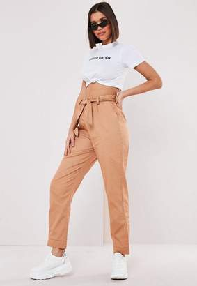 Missguided Petite Tan Tie Cuff Cargo Pants