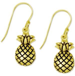 Kona Bay Pineapple Drop Earrings in Gold-Plate