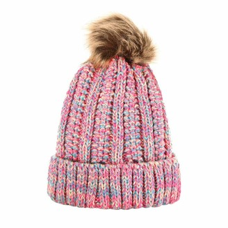 Doldoa Hats Unisex Knit Cap Faux Wool Ball Hemming Hat Winter Warm Hats(Pink)