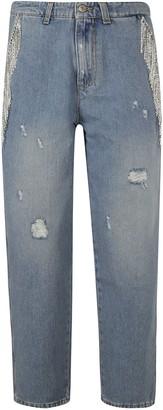 Chiara Ferragni Crystal Fringe Denim Boyfriend Jeans