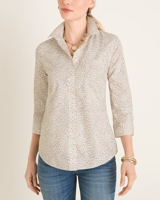 No Iron Cotton Leopard-Print Pocket-Detail Shirt