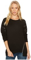 Joe's Jeans Studded Sleeve Detail Top Women's Long Sleeve Pullover