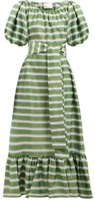 Lisa Marie Fernandez Prairie Striped Satin Dress - Womens - Green White