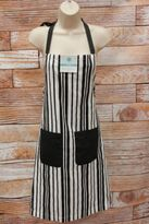 Martha Stewart Striped Apron Basic Black White Stripe Pockets 100% Cotton K1