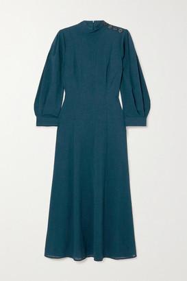 Cefinn Abigail Button-embellished Woven Midi Dress - Blue