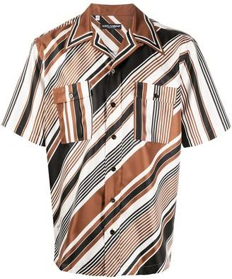 Dolce & Gabbana Striped Buttoned Short-Sleeve Shirt