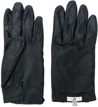 Hermes 1980's Pre-Owned Padlock-Detail Gloves