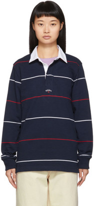 Noah NYC Navy Striped Logo Rugby Polo