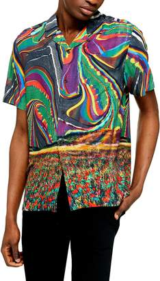 Topman Trippy Field Revere Slim Fit Short Sleeve Button-Up Shirt
