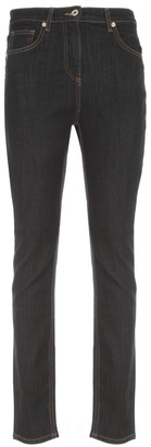 Blumarine Slim High Waisted Jeans W/logo