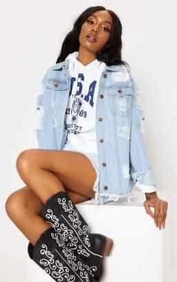 PrettyLittleThing Light Wash Abegaila Distressed Oversized Denim Jacket
