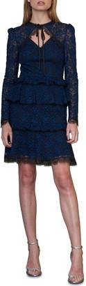 ML Monique Lhuillier Tie Neck Long Sleeve Lace Cocktail Dress