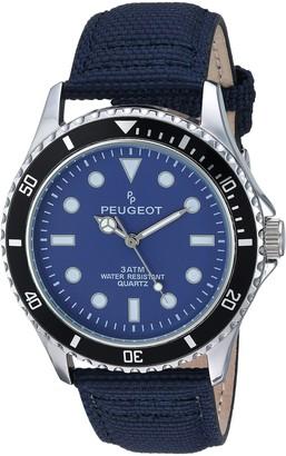Peugeot Men's Sport Bezel Watch with Blue Canvas Wrist Band