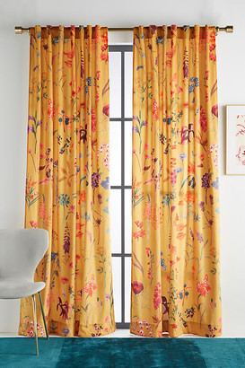 """Anthropologie Layne Velvet Curtain By in Yellow Size 50"""" X 96"""""""