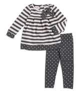 Nannette Little Girls Striped and Polka Dot Top and Leggings Set