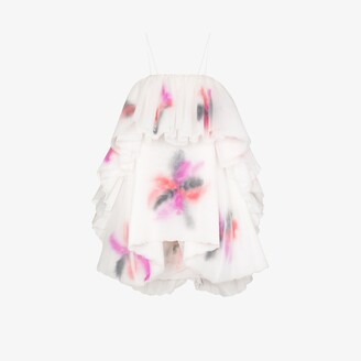 Susan Fang Tiered Feather Mini Dress