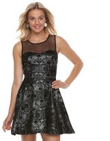 Trixxi Juniors' Flocked Skater Dress