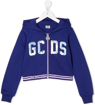 Gcds Kids Holographic Logo Hoodie
