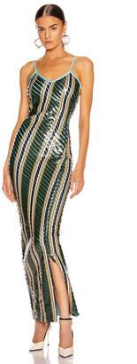 Y/Project Striped Bodycon Dress in Green Stripe | FWRD