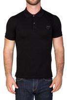 Prada Men's Pique Cotton Short Sleeve Polo Shirt Black.